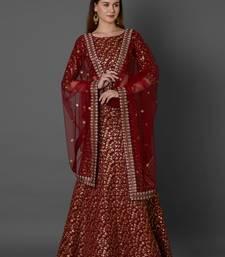 Maroon embroidered art silk unstitched lehenga