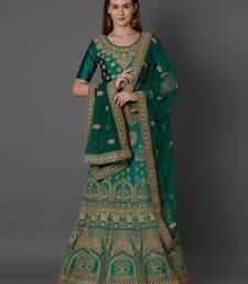 Green embroidered art silk unstitched lehenga