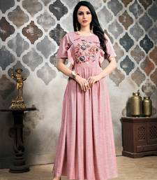 Light-pink embroidered viscose kurtas-and-kurtis