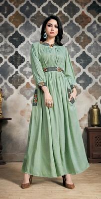 Light-green embroidered viscose kurtas-and-kurtis