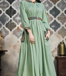 Light-green embroidered viscose kurtas-and-kurtis