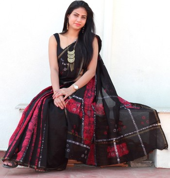 Black hand woven chanderi saree with blouse