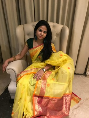 Light yellow hand woven chanderi silk saree with blouse