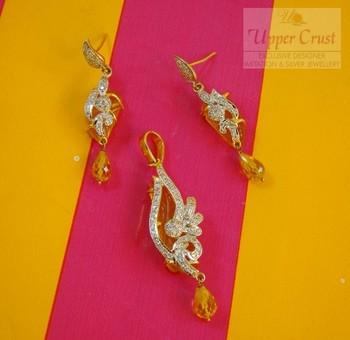 Deep Yellow Carved CZ Pendant Earring Jewellery