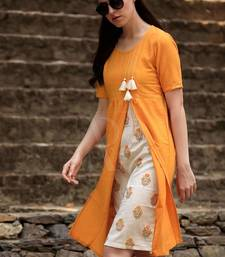 ORANGE KURTA WITH FLORAL PANEL