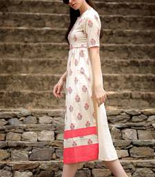 OFF-WHITE & CORAL FLORAL A-LINE KURTA