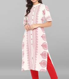 White printed cotton ethnic kurti with narrow pant