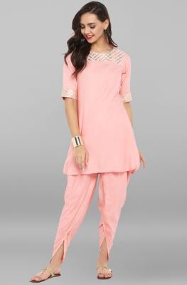 Pink printed rayon ethnic kurti with dhoti