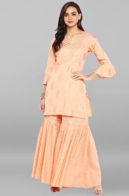 Peach printed rayon ethnic kurti with sharara