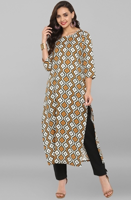Multicolor printed cotton ethnic kurti with narrow pant