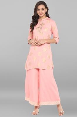Pink printed rayon ethnic kurti with palazzo
