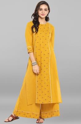 Mustard embroidered cotton ethnic kurti with palazzo