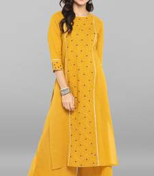 Mustard embroidered cotton ethnic kurti with palazzo