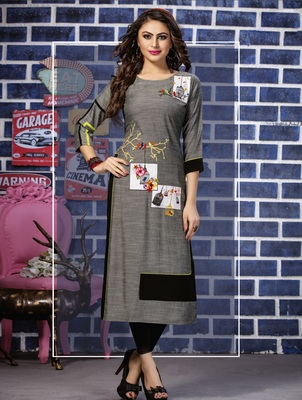 Grey Embroidered Rayon Embroidered Kurtis
