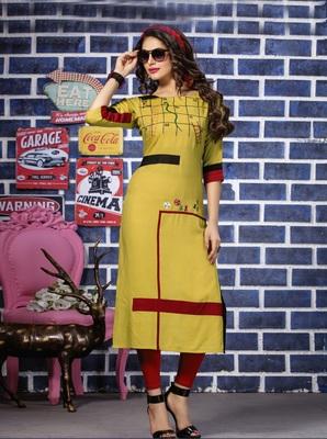 Yellow Embroidered Rayon Embroidered Kurtis