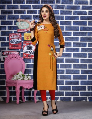 Orange embroidered rayon embroidered-kurtis