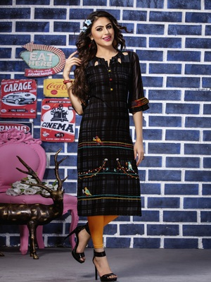 Navy Blue Embroidered Rayon Embroidered Kurtis
