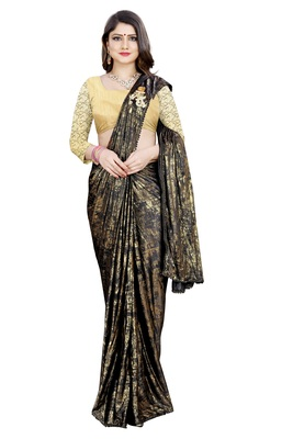 Gold printed lycra saree with blouse