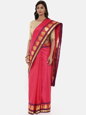 CLASSICATE From The House Of The Chennai Silks Women's Red Dharmavaram Silk Saree With Blouse