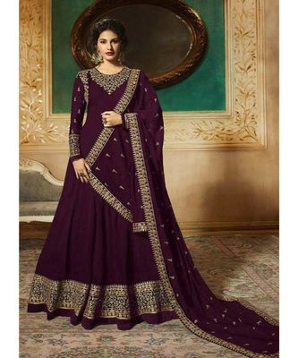 Wine Embroidered Georgette Semi Stiched Salwar With Dupatta