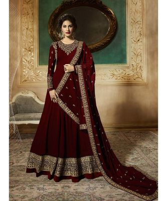 Maroon Embroidered Georgette Semi Stiched Salwar With Dupatta