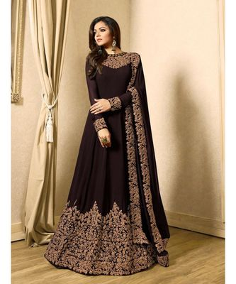 Brown Embroidered Georgette Semi Stiched Salwar With Dupatta