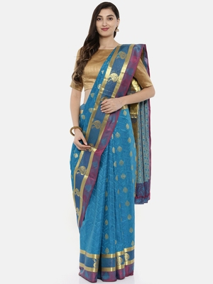 CLASSICATE From The House Of The Chennai Silks Women's Blue  Dharmavaram Silk Saree With Blouse