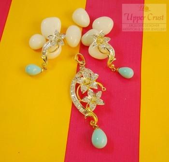Matt Blue CZ Flower Pendant Earring Jewellery Set