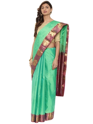 CLASSICATE From The House Of The Chennai Silks Women's Green Dharmavaram Silk Saree With Blouse