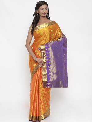 CLASSICATE From The House Of The Chennai Silks Women's Yellow Dharmavaram Silk Saree With Blouse