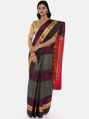 CLASSICATE From The House Of The Chennai Silks Women's  Grey Dharmavaram Silk Saree With Blouse