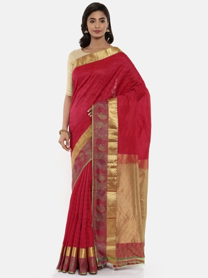 CLASSICATE From The House Of The Chennai Silks Women's Red Traditional  Dharmavaram Silk Saree With Blouse