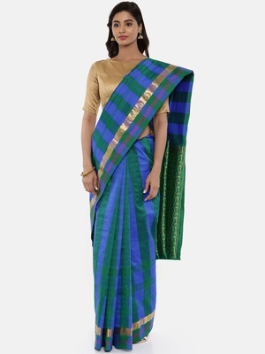CLASSICATE From The House Of The Chennai Silks Women's Multicolor Dharmavaram Silk Saree With Blouse