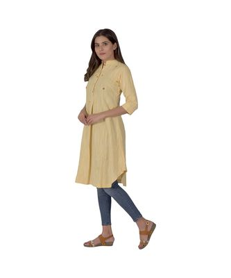 Lemon Yellow Designer Khadi Cotton Kurta