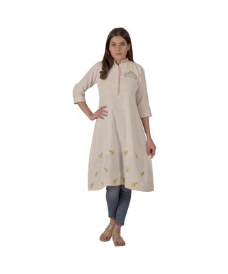 creamy white designer dress with beautiful floral motifs