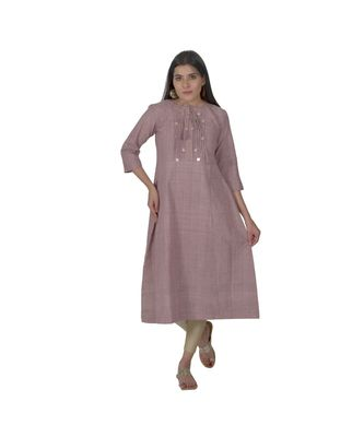 Purple Kurta With Coin Embellishment In Khadi Cotton