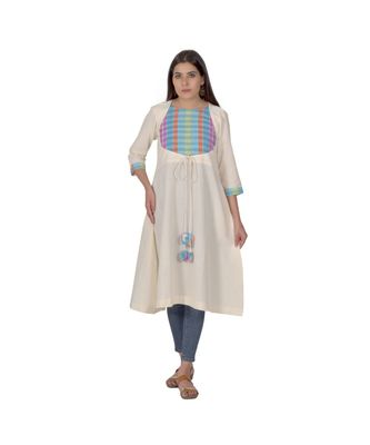 Cream Hued Kurta With Multicoloured Yoke In Khadi Cotton