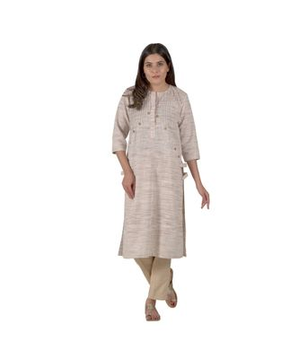Pastel Brown Kurta In Khadi Cotton