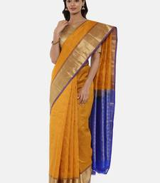 CLASSICATE From The House Of The Chennai Silks Women's Mustard Dharmavaram Silk Saree With Blouse