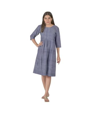 Blue Dress With Box Pleats In Khadi Cotton