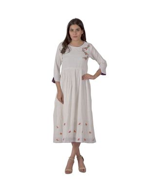 Cream Dress In Khadi Cotton With Floral Embroidery