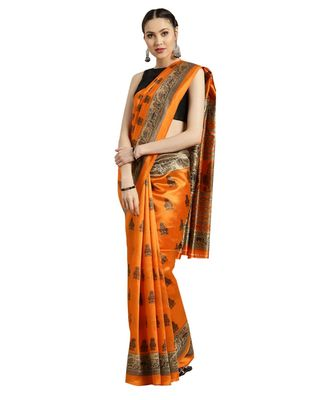 orange Printed poly silk saree with blouse
