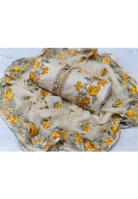 Cream Embroidered Chanderi Unstitched Salwar With Dupatta
