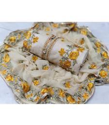 Cream Embroidered Chanderi Unstitched Salwar With Dupatta