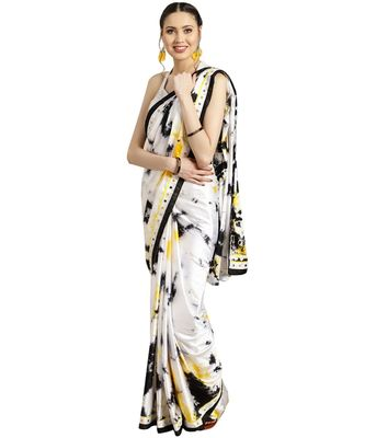 white Printed satin saree with blouse