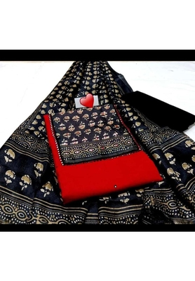 Red Printed Cotton Unstitched Salwar With Dupatta