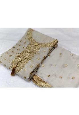 Silver Embroidered Chanderi Unstitched Salwar With Dupatta