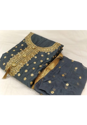 Grey Embroidered Chanderi Unstitched Salwar With Dupatta