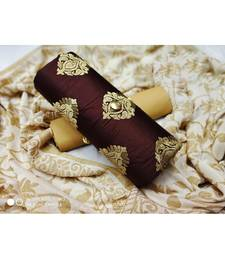 Brown embroidered cotton unstitched salwar with dupatta