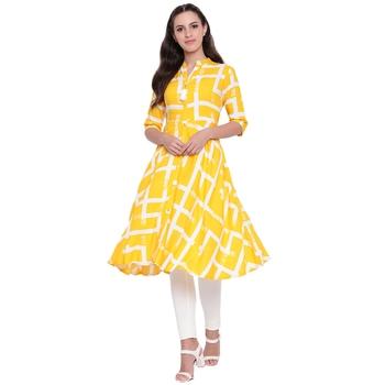 Yellow printed rayon kurtasandkurtis